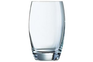 Krat met 33x Waterglas Salto transparant 35cl.