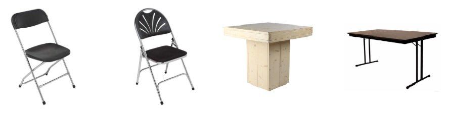 Tafels en stoelen huren
